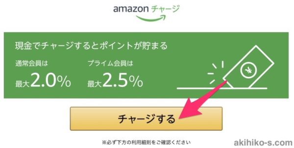 Amazonチャージのチャージボタン(PC)