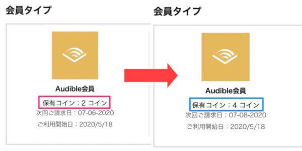 Audibleコインは毎月契約した日付にもらえるの具体例
